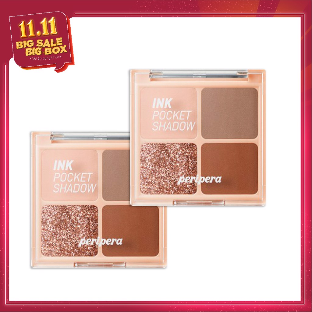 COMBO 02 Bảng Phấn Mắt Nhũ PERIPERA INK POCKET SHADOW PALETTE - 003 BROWN FILTER 360
