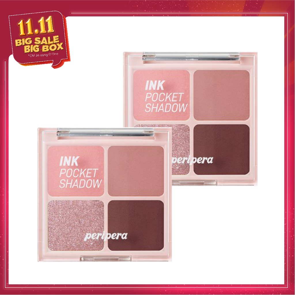 COMBO 02 Bảng Phấn Mắt Nhũ PERIPERA INK POCKET SHADOW PALETTE - 004 DIPPING ROSE MOMENT