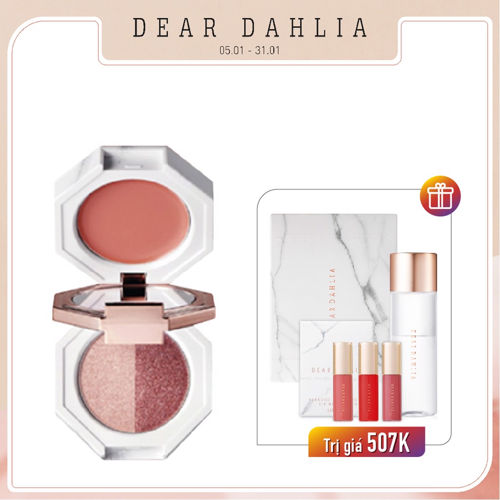 Combo Phấn Mắt Ánh Nhũ Lấp Lánh DEAR DAHLIA PARADISE DUAL PALETTE [MATCH] MULTI-BALM & EYE SHADOW TRIO - STRAWBERRY CRUSH