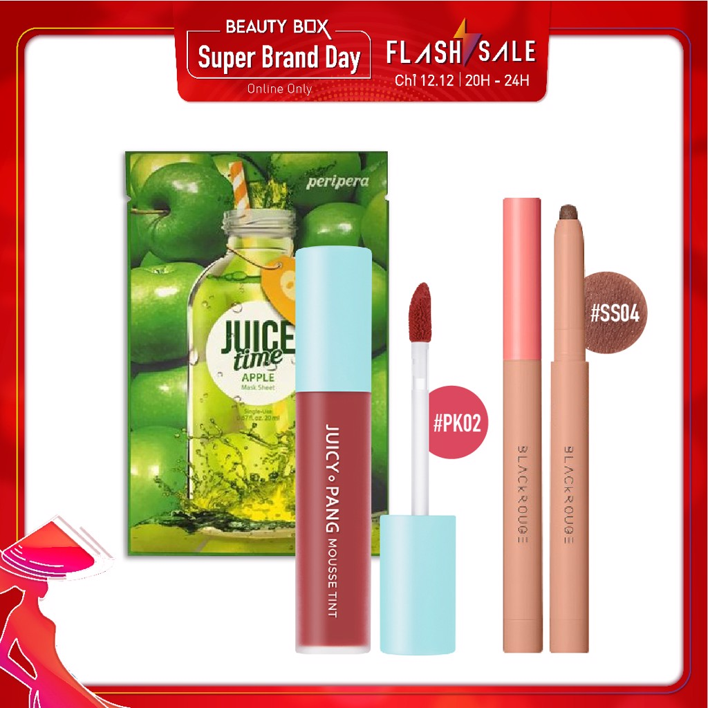 Combo Son Kem & Phấn Mắt Dạng Chì BLACK ROUGE ALL DAY POWER PROOF STICK SHADOW SS04