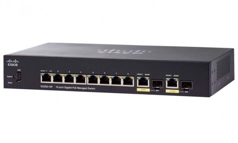 SG350-10-K9 Thiết bị chuyển mạch CISCO 8 Port 10/100/1000 Mbps + 2 cổng 1Gb COMBO Manager Switch.