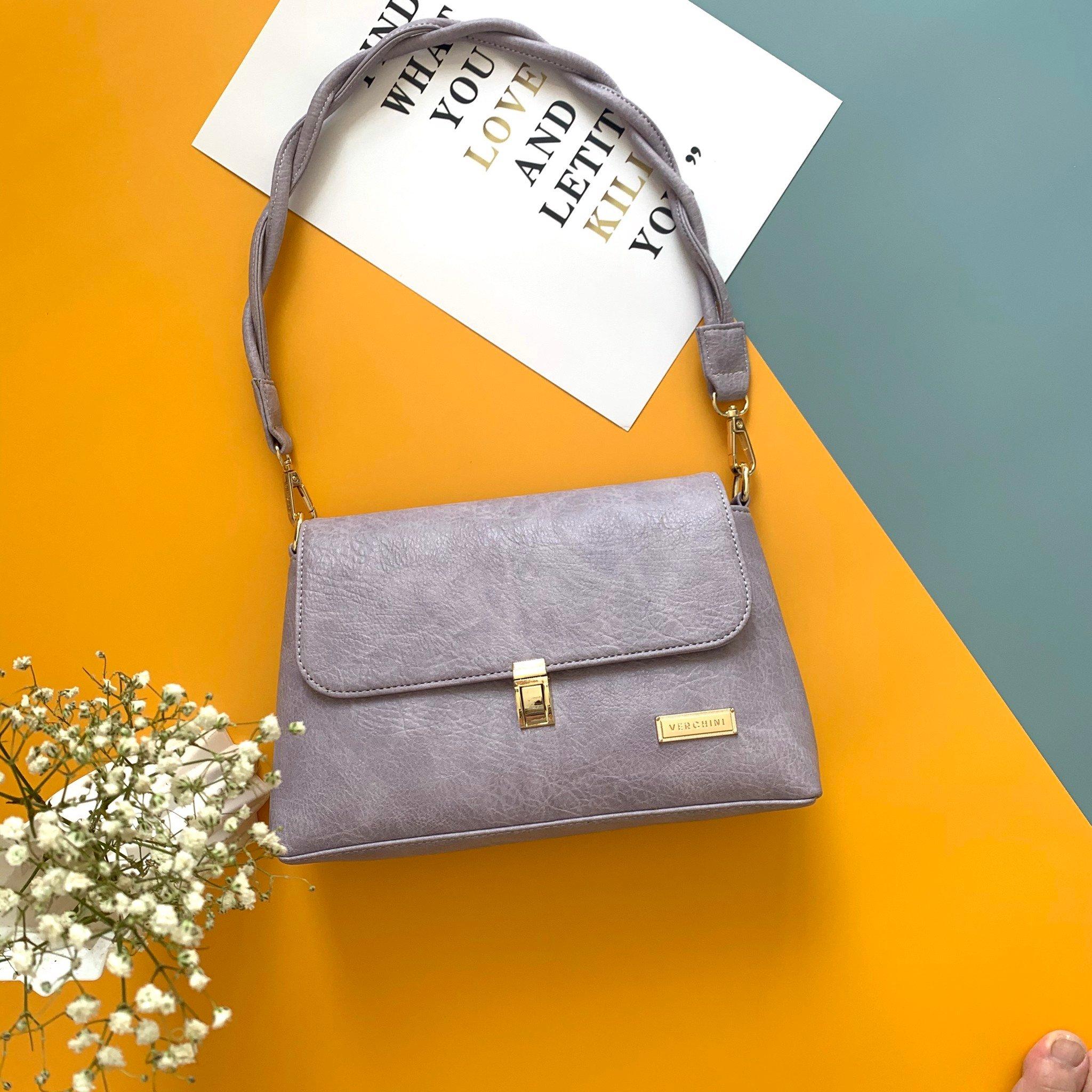 Túi xách thời trang Verchini quai bính phối khóa chữ nhật