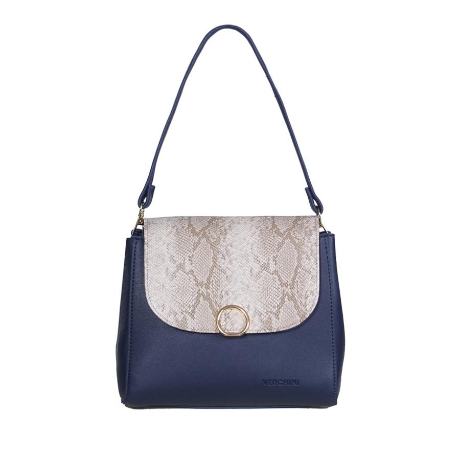Túi xách thời trang Verchini nắp phối màu khóa tròn