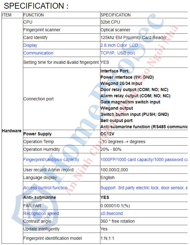 HPS- F19V- Vân tay trong nhà HomeProSec HPS- F19V (Tiếng Việt)