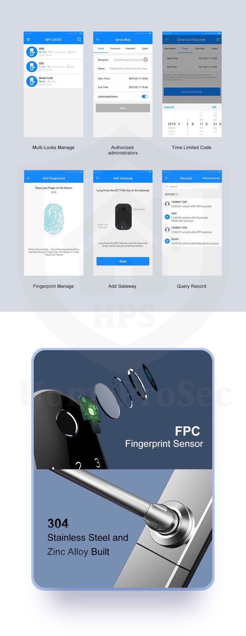 HPS- 3321B- Khóa vân tay wifi Homeprosec HPS- 3321B