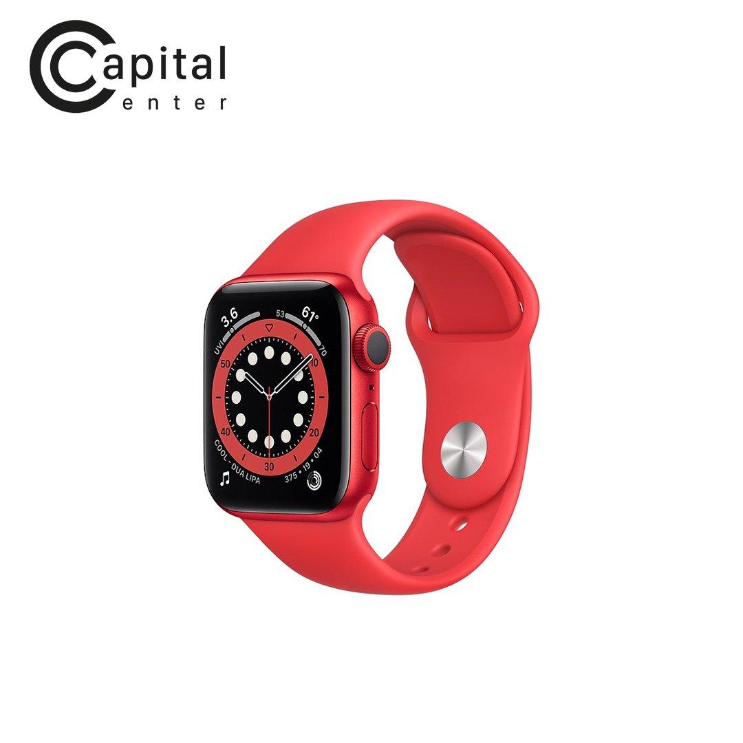 Apple Watch Series 6 GPS 40mm Viền nhôm / Dây cao su - Viền Đỏ / Dây Đỏ (M00A3VN/A)