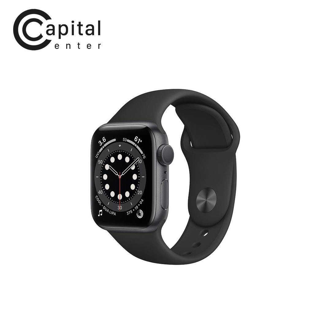 Apple Watch Series 6 GPS 40mm Viền nhôm / Dây cao su - Viền Xám / Dây Đen (MG133VN/A)