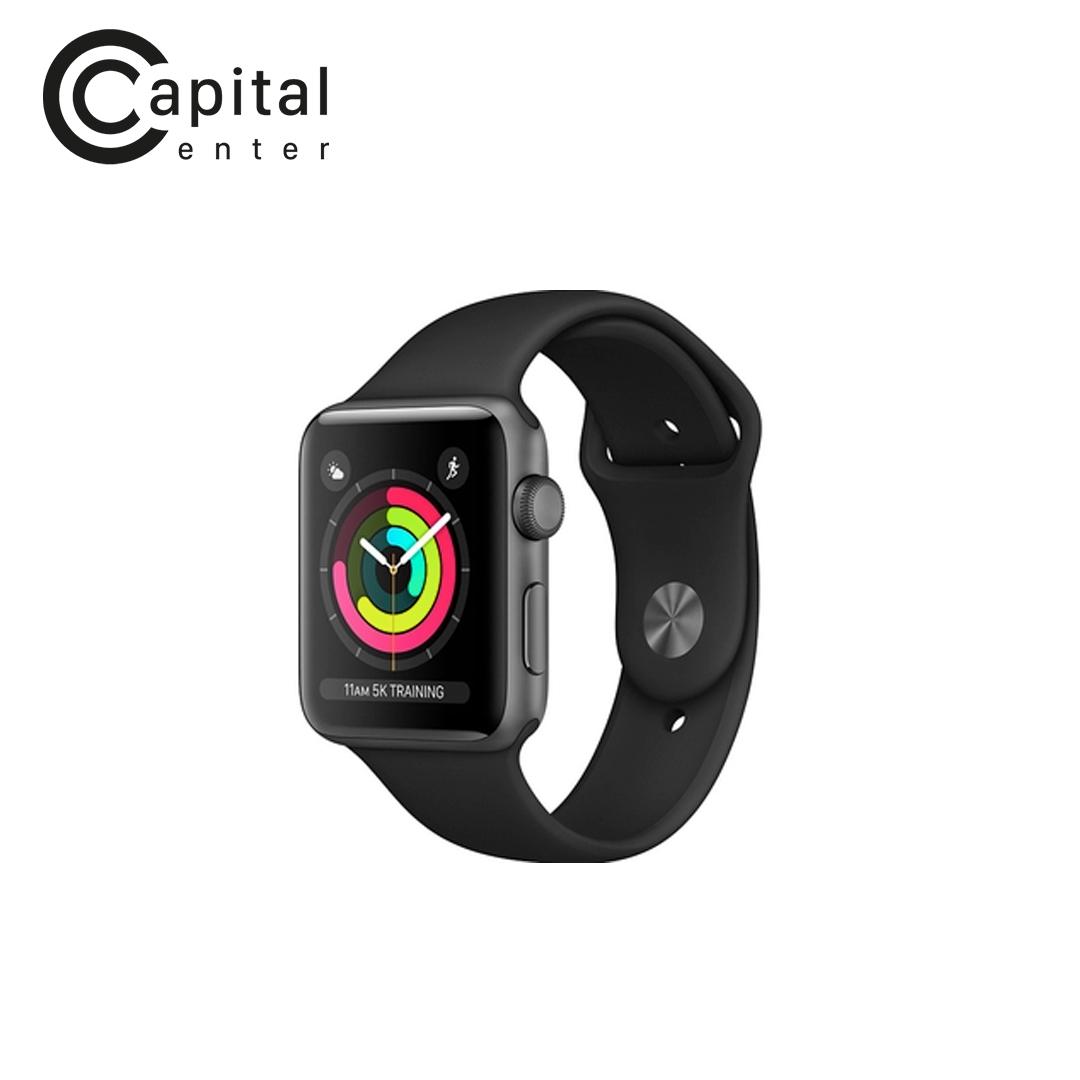 Apple Watch Series 3 GPS 38mm Viền nhôm / Dây cao su - Viền Xám / Dây Đen (MTF02VN/A)