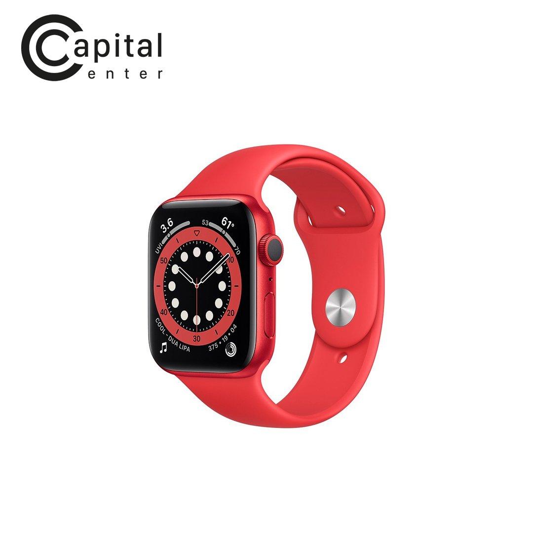 Apple Watch Series 6 GPS 44mm Viền nhôm / Dây cao su - Viền Đỏ / Dây Đỏ (M00M3VN/A)