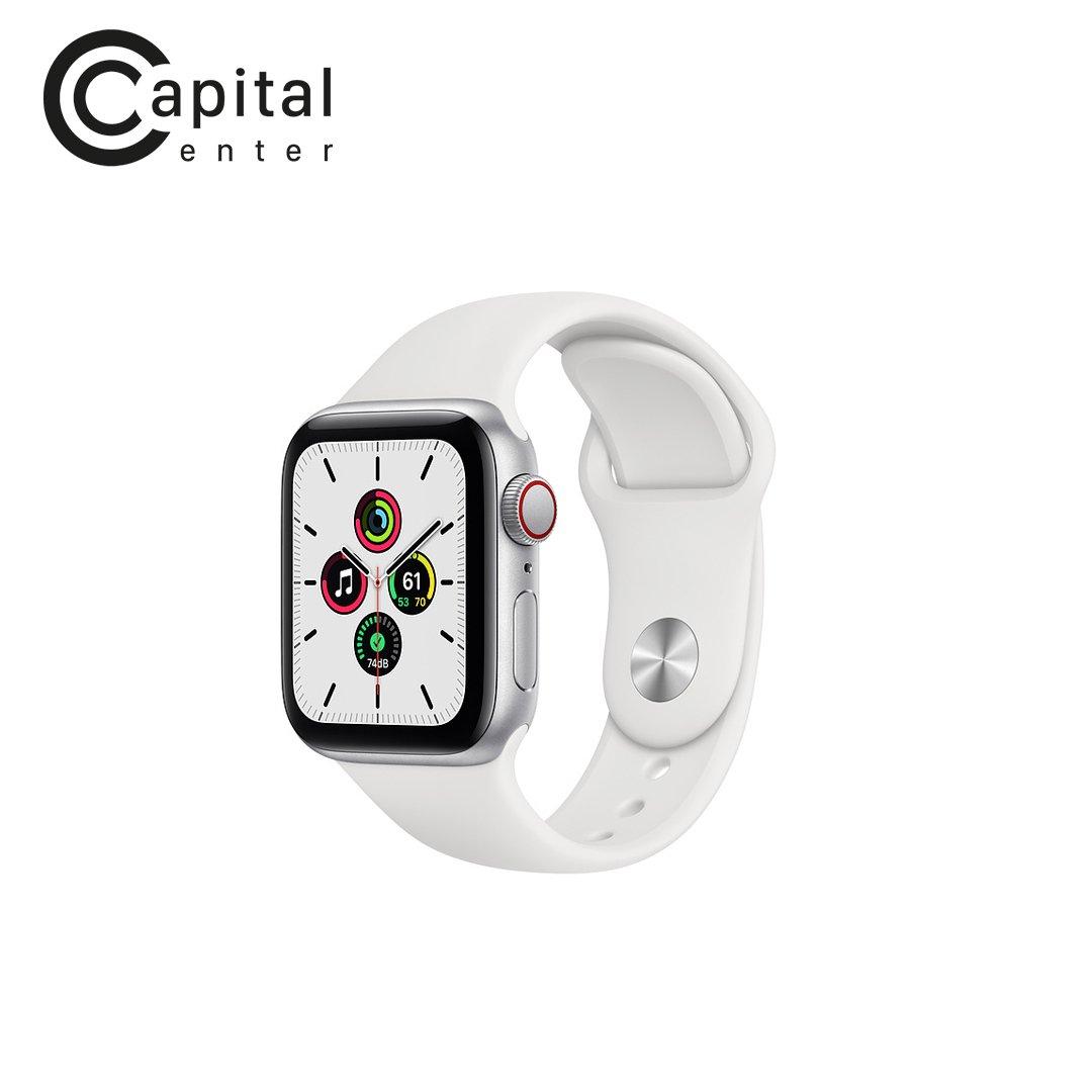 Apple Watch SE GPS + Cellular 40 mm Viền nhôm / Dây cao su - Viền Bạc / Dây Trắng (MYEF2VN/A)