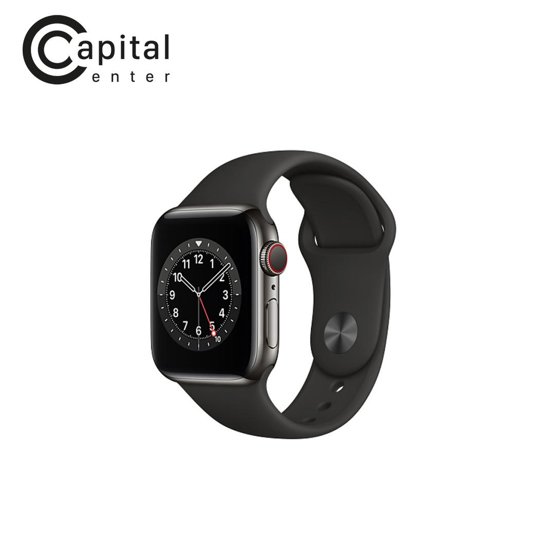 Apple Watch Series 6 GPS + Cellular 44mm Viền thép / Dây cao su (VN/A) - Viền Đen / Dây Đen (M09H3VN/A)