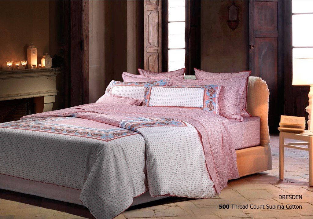 Ga bọc - FITTED SHEET 180X200  cm + 2PC - DRESDEN PINK