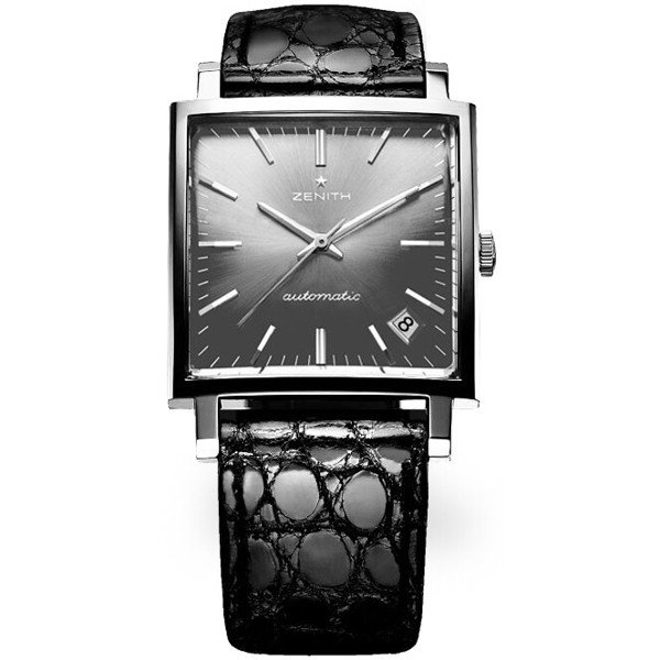 Zenith Mens Stainless Steel Leather 33mm X 33mm