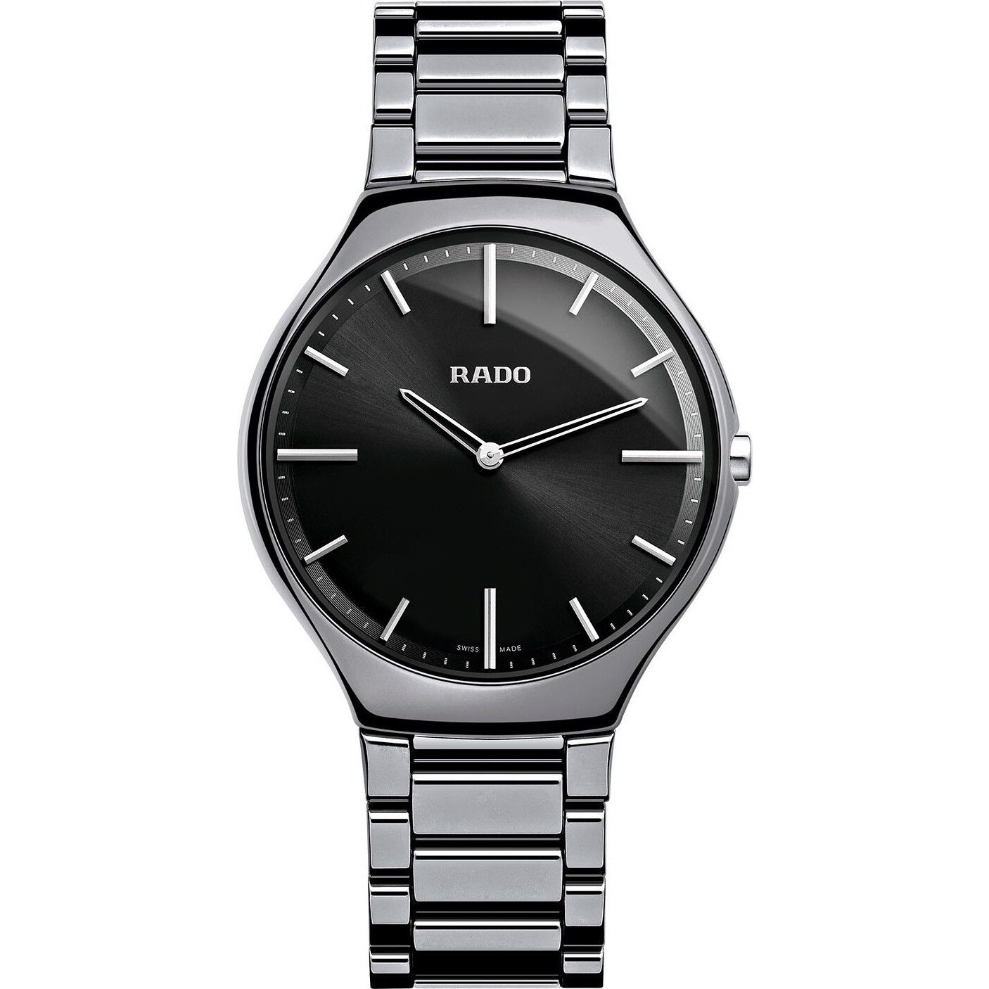 Rado True Black Platinum-tone Ceramic Watch