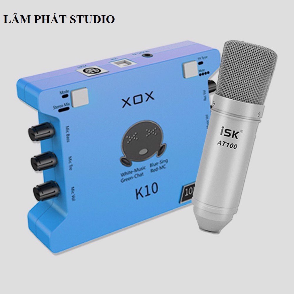 Combo Sound Card K10 2020 Và Micro ISK AT100