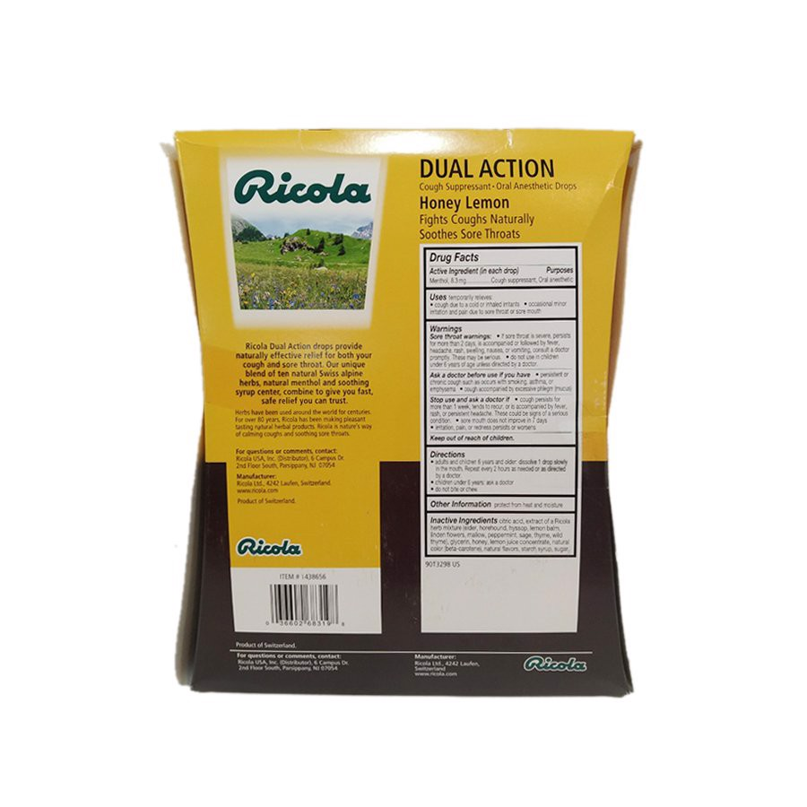 Kẹo Ngậm Ricola Dual Action Honey Lemon 175 viên