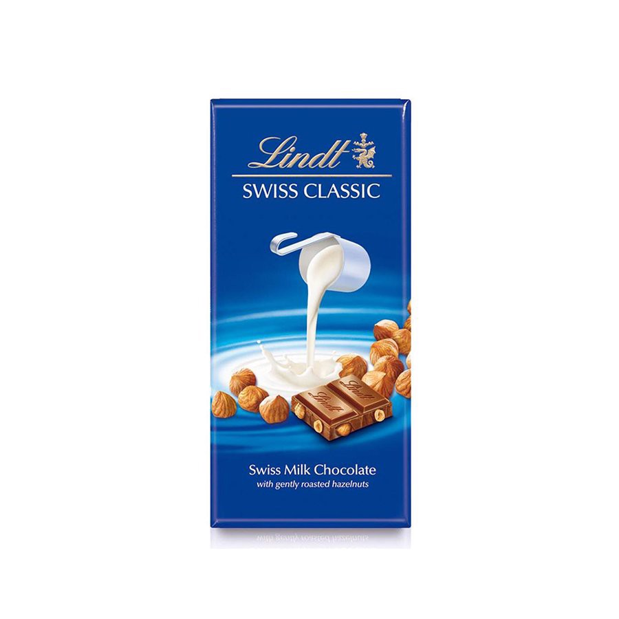 Socola Lindt Swiss Classic Milk Choco Whole Hazelnuts Thanh 100g