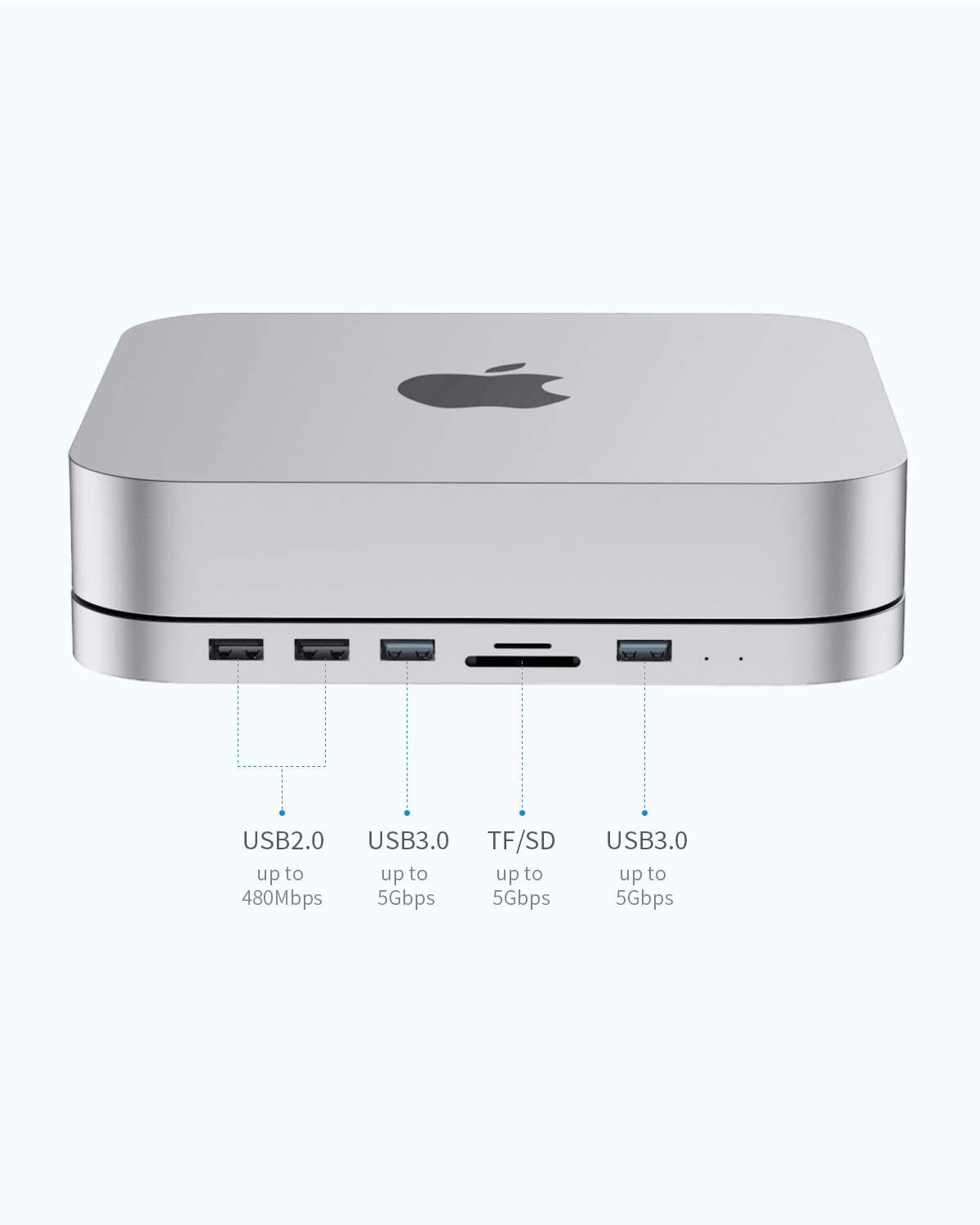 HAGIBIS Type-C Docking Station & Stand for Mac Mini M1 USB-C Hub with Hard Drive Enclosure, with SATA, USB 3.0, SD/TF Card Reader and USB 2.0 Ports for New MM M1 Laptop (Silver for Mac Mini 2020)