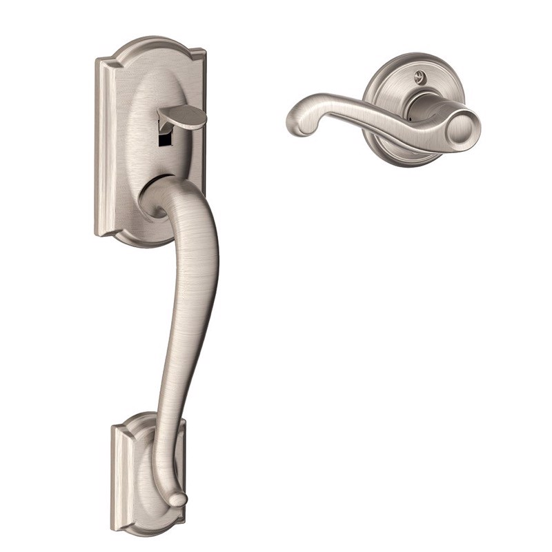 Schlage Camelot Front Entry Handle Accent Right-Handed Interior Lever (Satin Nickel)