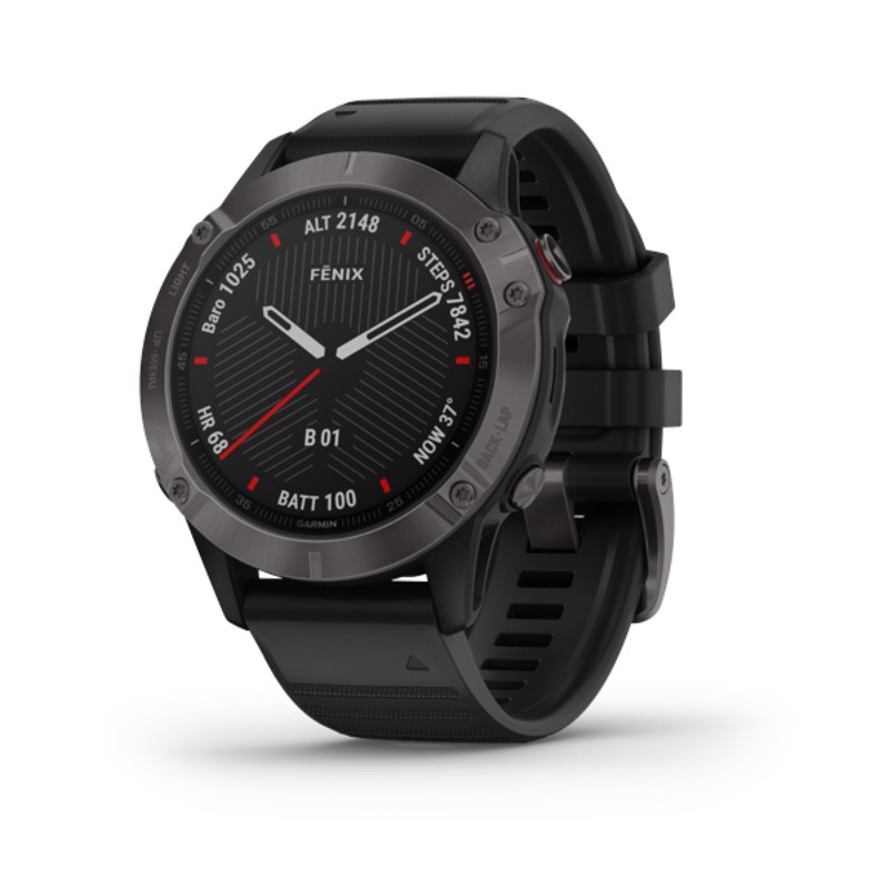 Garmin Fenix 6, Sapphire - Carbon Gray DLC with Black Band