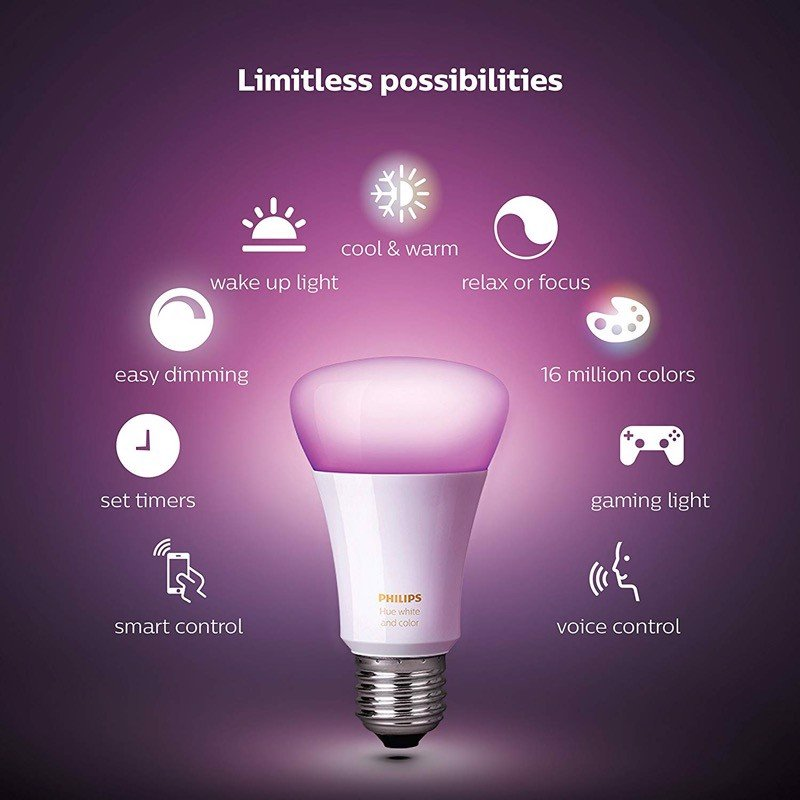 Philips Hue White and Color Ambiance Kit (4 x A19 Bulbs + 1 Hub)