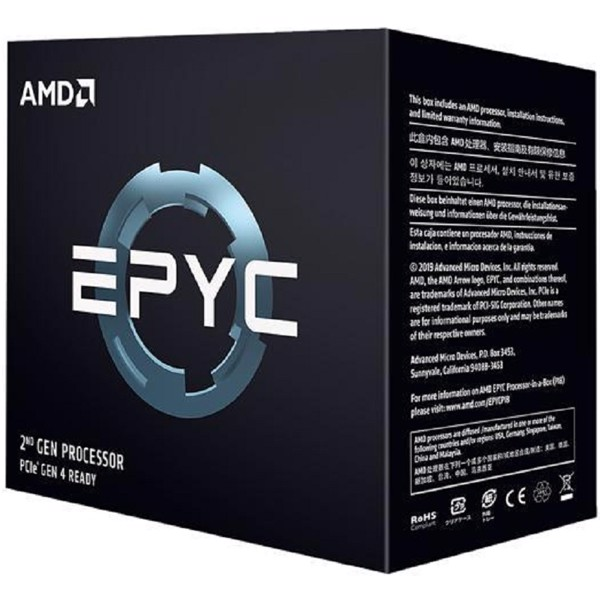 CPU AMD EPYC 7642 (2.3GHz turbo up to 3.3GHz / 256MB / 48 Cores, 96 Threads / 225W / Socket SP3)